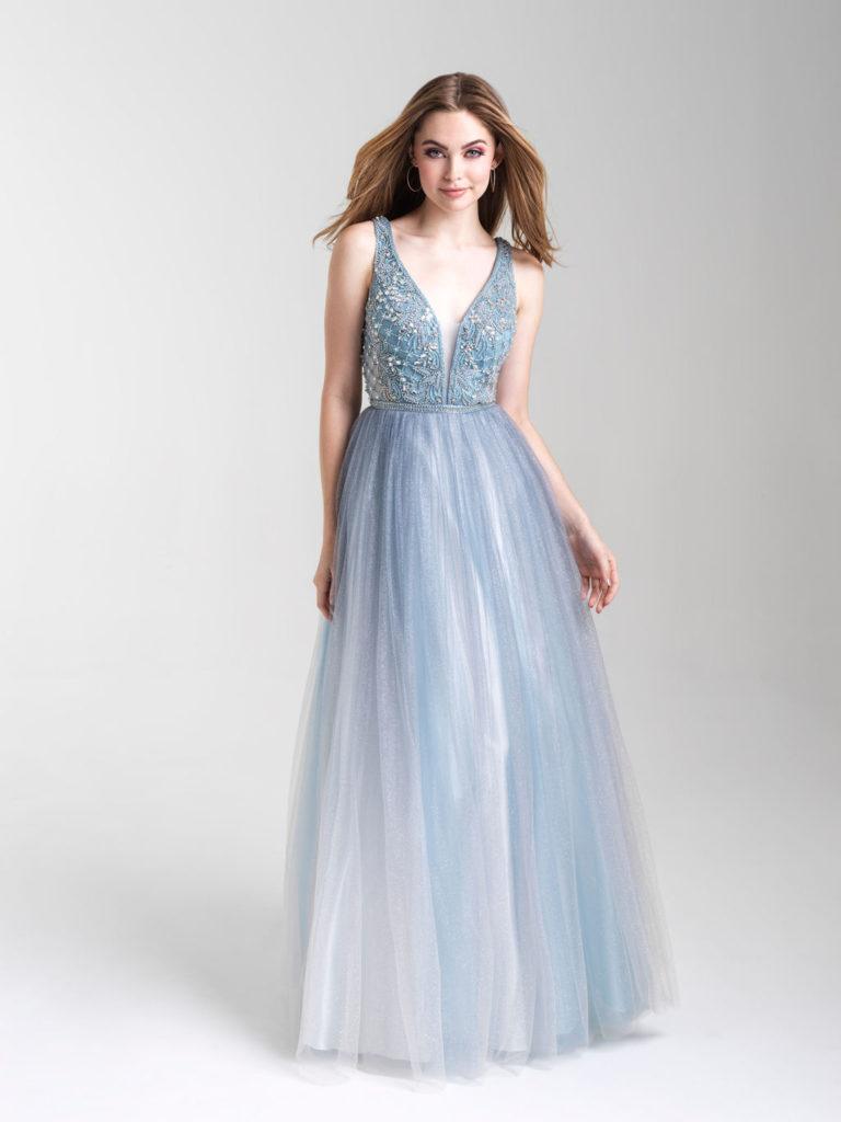 Madison James Dusty Blue Prom Dress