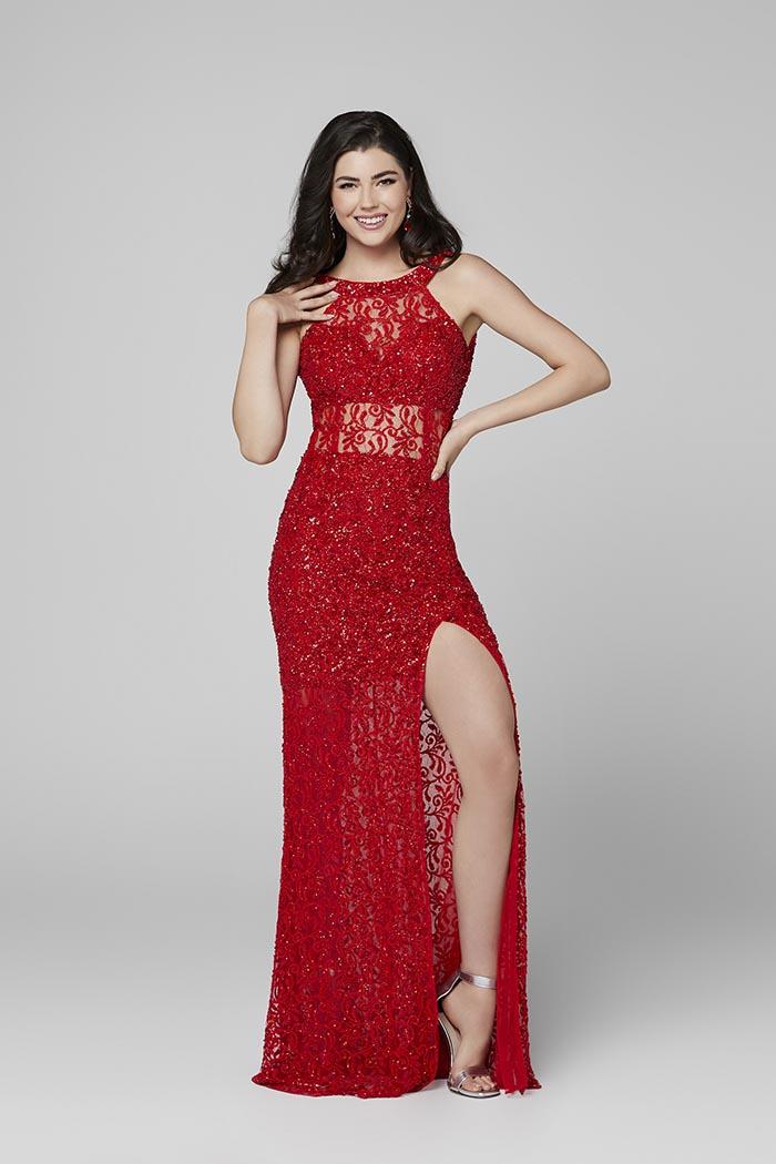 Primavera-3436-RED-Prom Dress