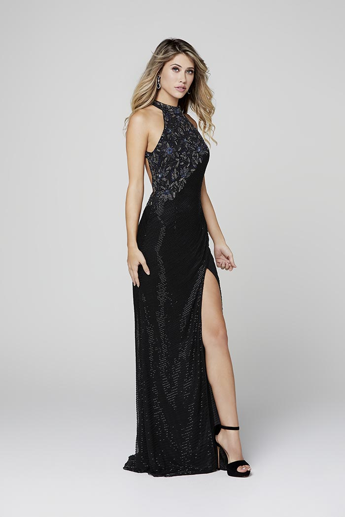 Primavera-3448-BLACK-Prom Dress